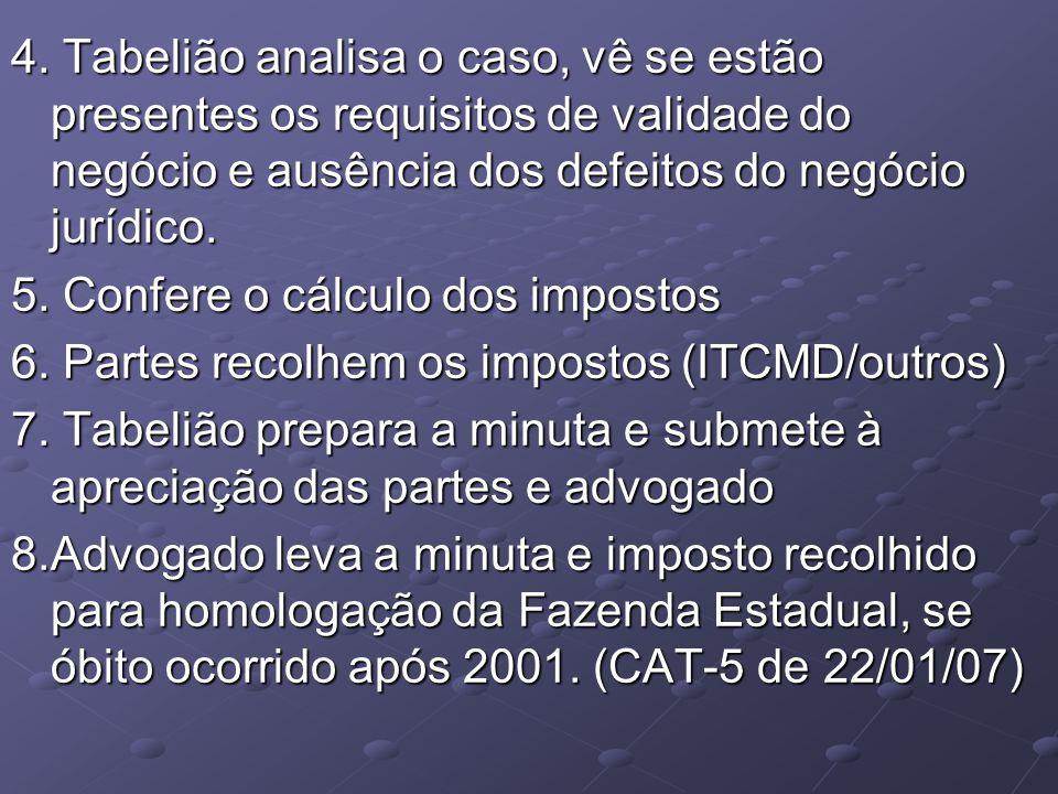 4. Tabelião analisa o caso, vê se estão presentes os requisitos de validade do negócio e ausência dos defeitos do negócio jurídico.