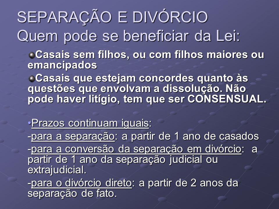 SEPARAÇÃO E DIVÓRCIO Quem pode se beneficiar da Lei: