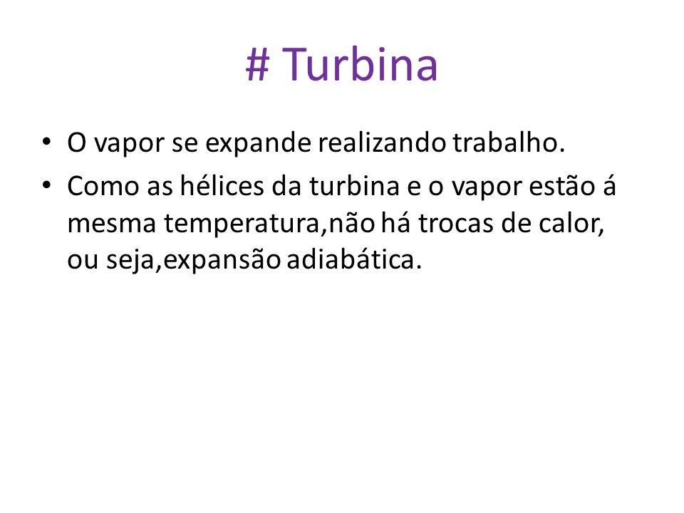 # Turbina O vapor se expande realizando trabalho.