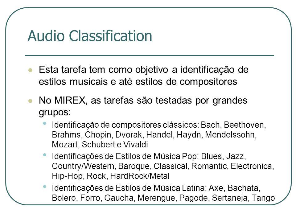 Audio Classification Esta tarefa tem como objetivo a identificação de estilos musicais e até estilos de compositores.