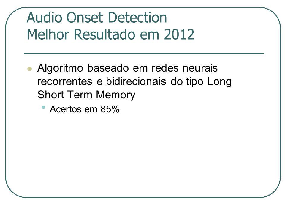 Audio Onset Detection Melhor Resultado em 2012