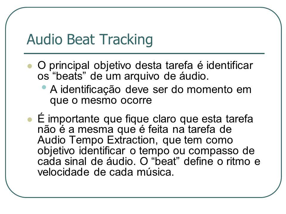 Audio Beat Tracking O principal objetivo desta tarefa é identificar os beats de um arquivo de áudio.