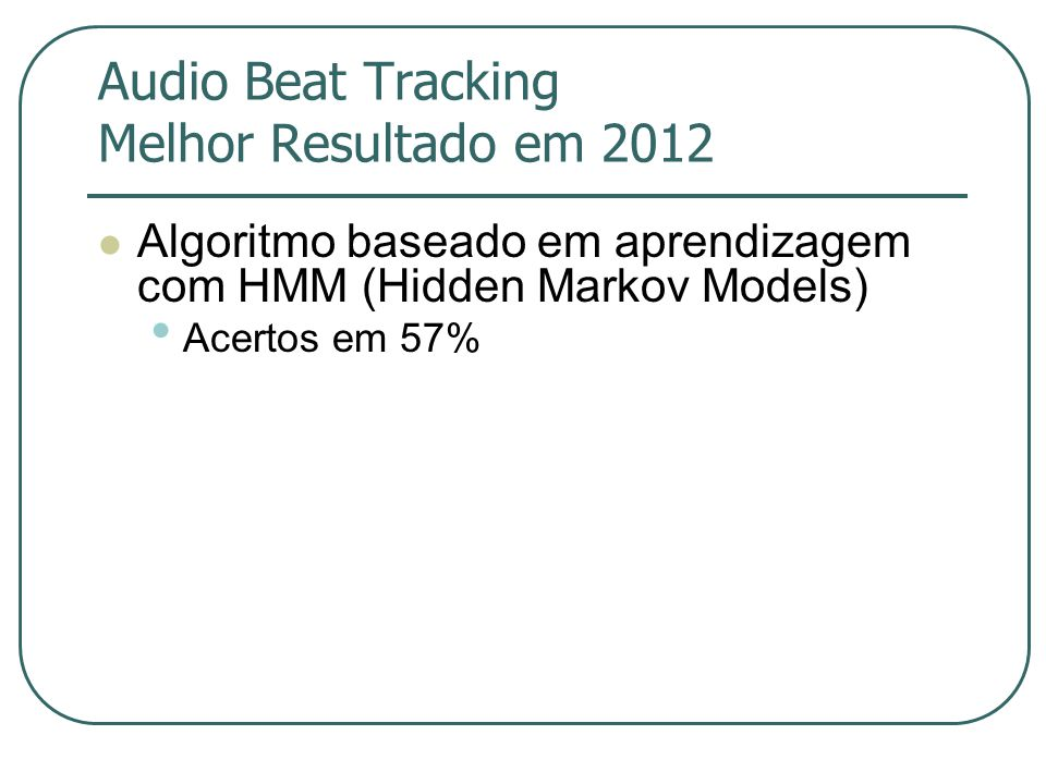 Audio Beat Tracking Melhor Resultado em 2012