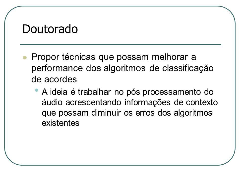 Doutorado Propor técnicas que possam melhorar a performance dos algoritmos de classificação de acordes.