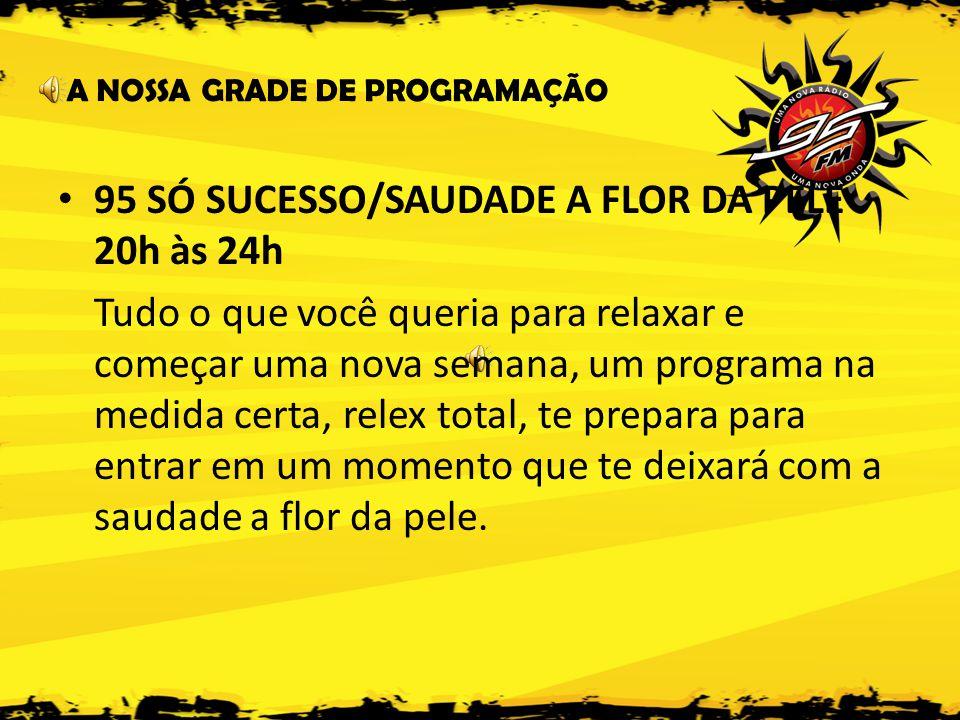 95 SÓ SUCESSO/SAUDADE A FLOR DA PELE 20h às 24h