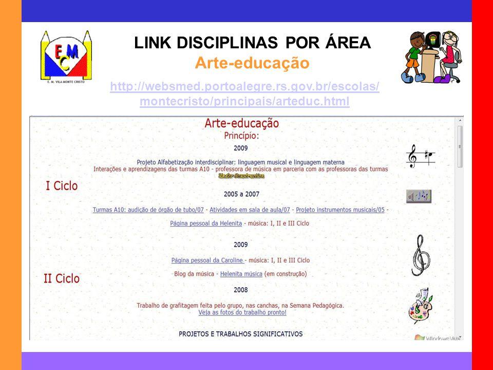 LINK DISCIPLINAS POR ÁREA Arte-educação