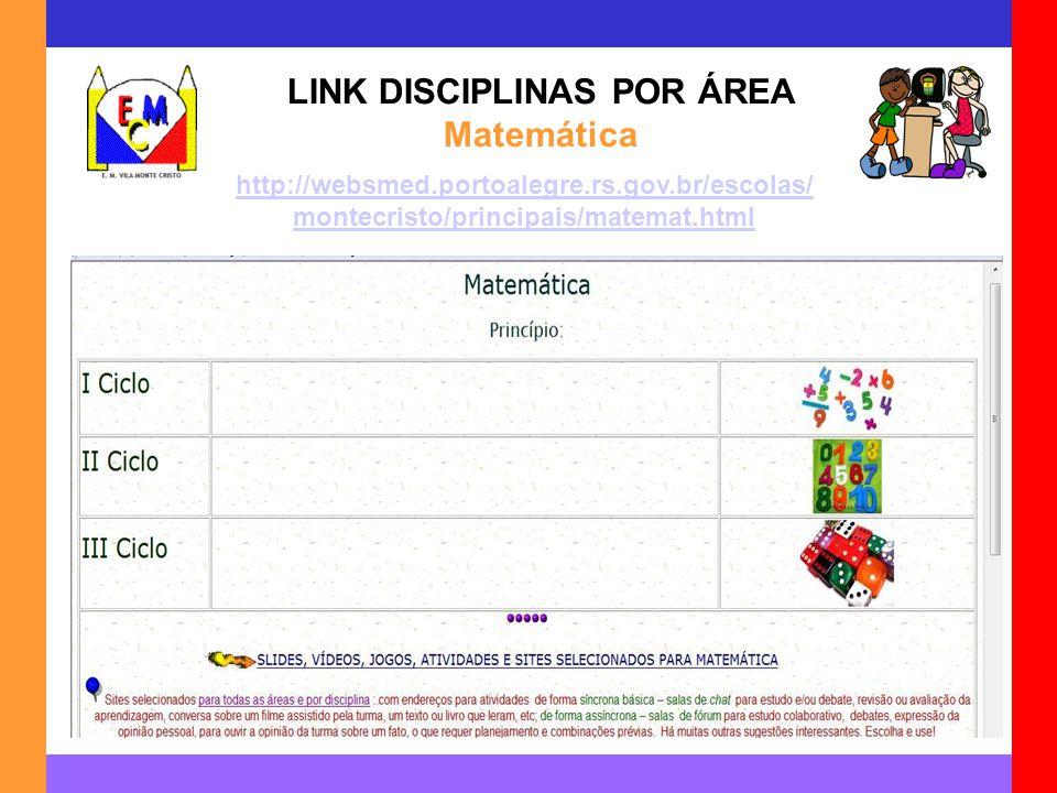 LINK DISCIPLINAS POR ÁREA Matemática