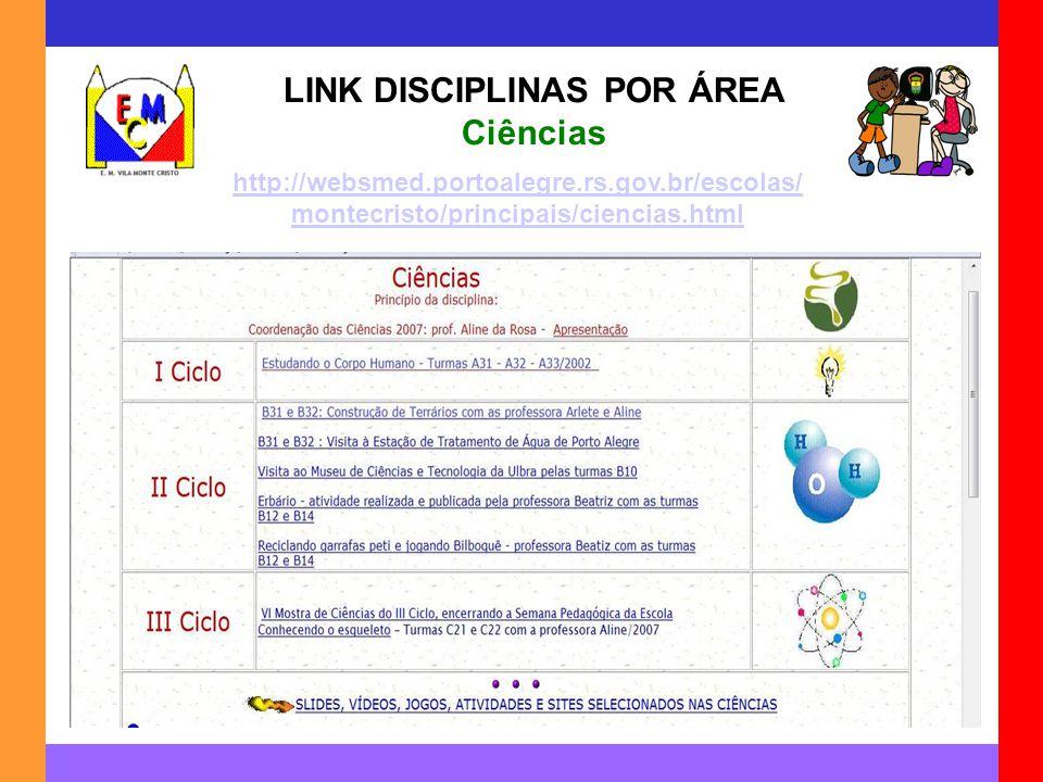LINK DISCIPLINAS POR ÁREA Ciências