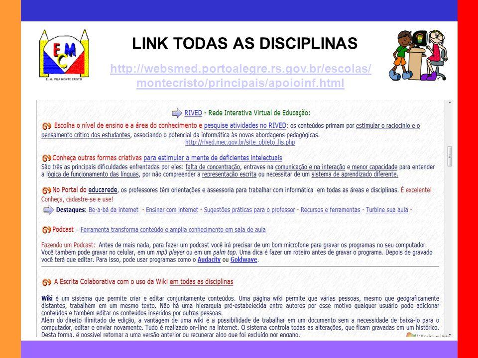 LINK TODAS AS DISCIPLINAS