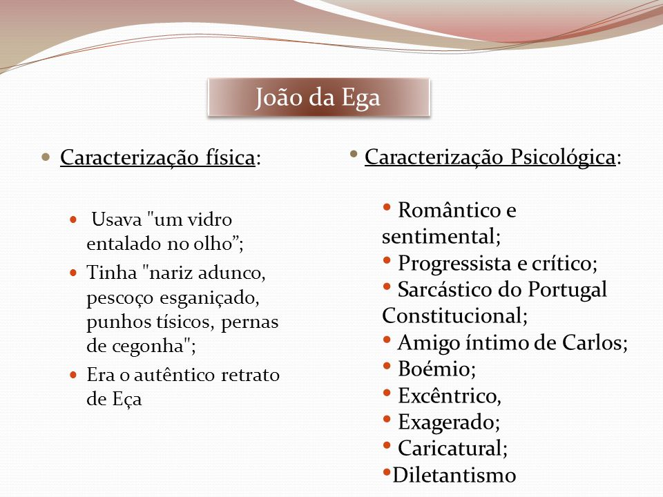 João da Ega Caracterização física: Caracterização Psicológica: