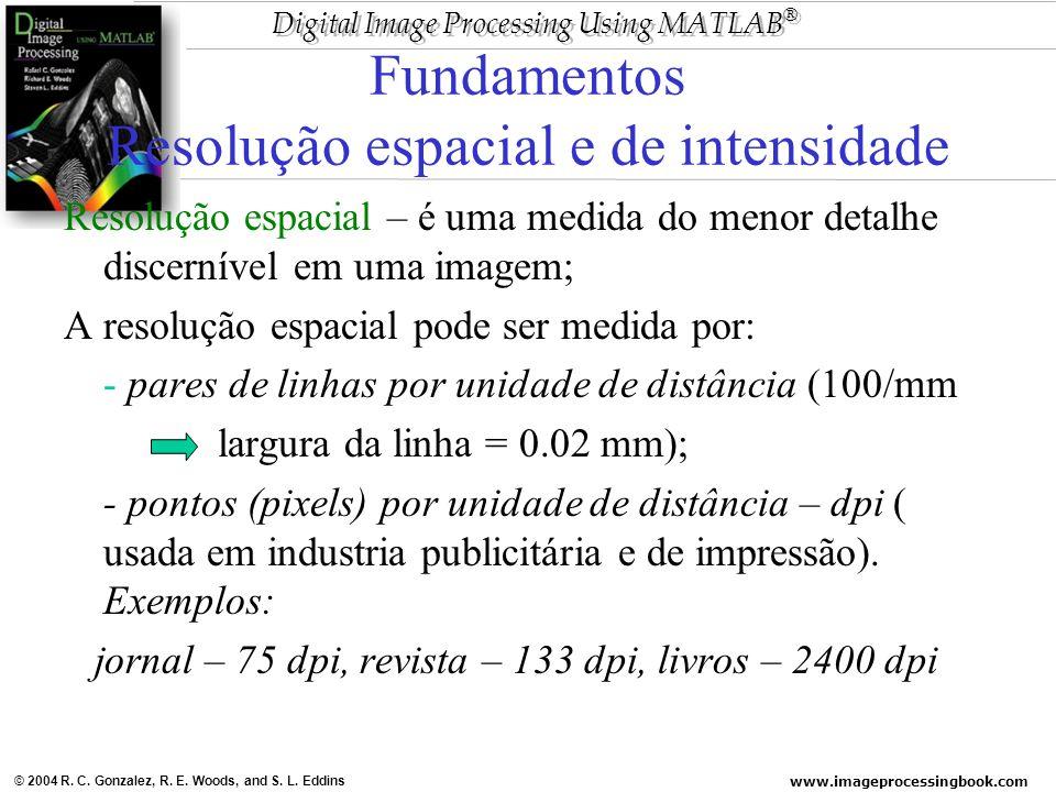Fundamentos Resolução espacial e de intensidade