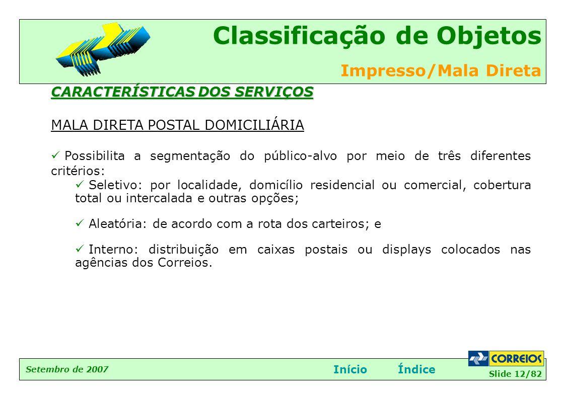 CARACTERÍSTICAS DOS SERVIÇOS MALA DIRETA POSTAL DOMICILIÁRIA