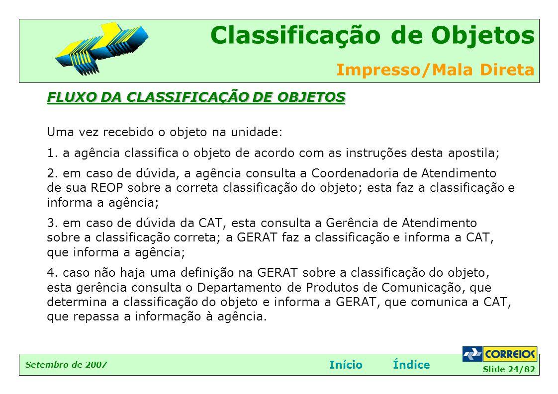 FLUXO DA CLASSIFICAÇÃO DE OBJETOS