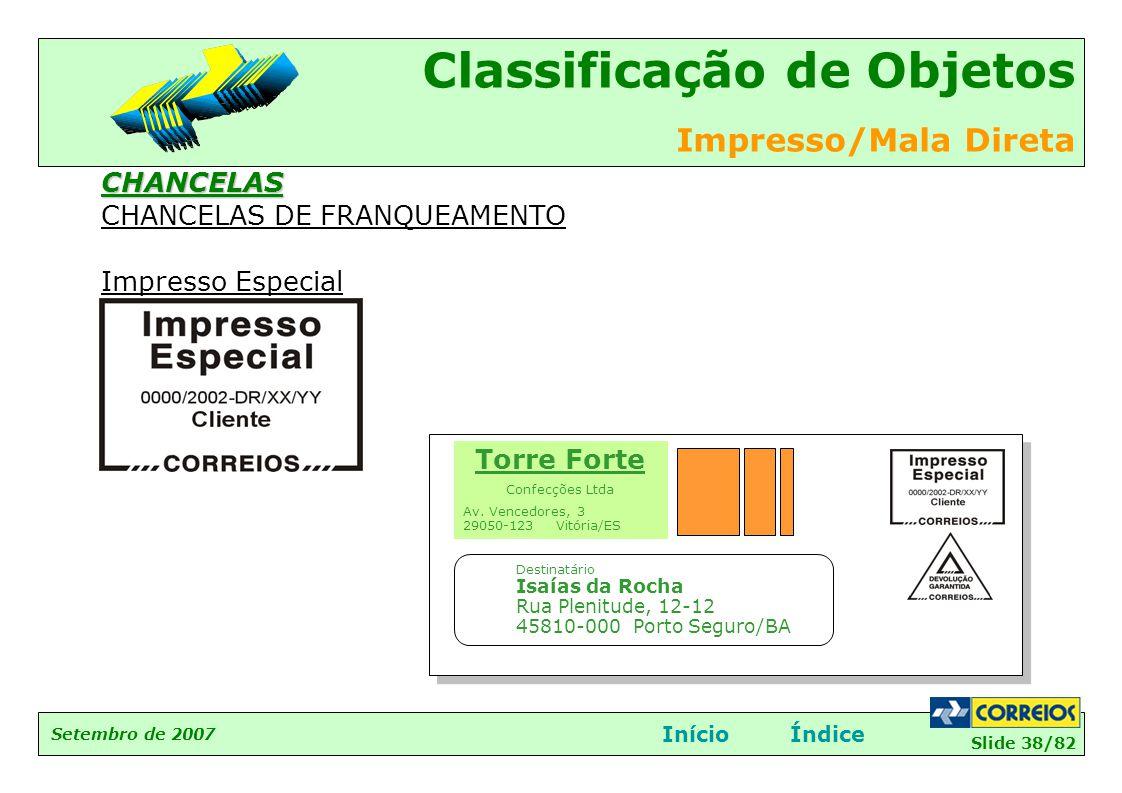 CHANCELAS DE FRANQUEAMENTO Impresso Especial
