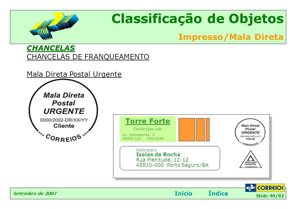 CHANCELAS DE FRANQUEAMENTO Mala Direta Postal Urgente