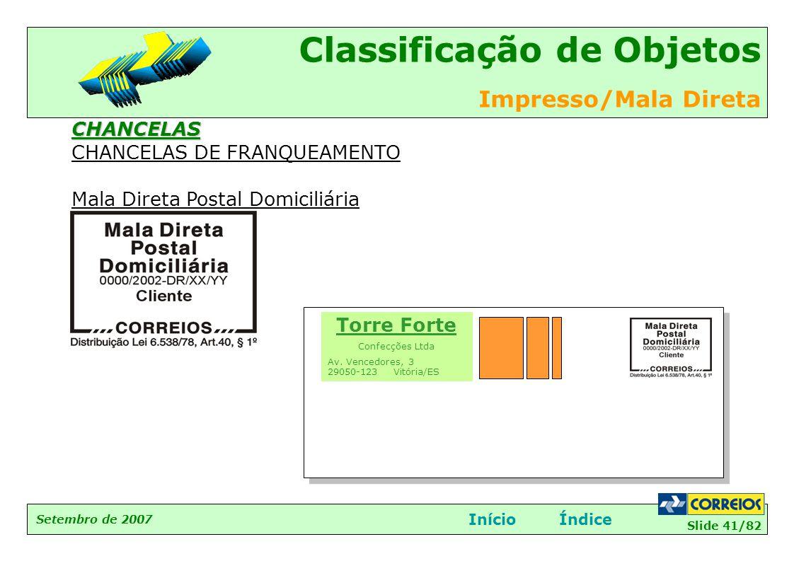 CHANCELAS DE FRANQUEAMENTO Mala Direta Postal Domiciliária