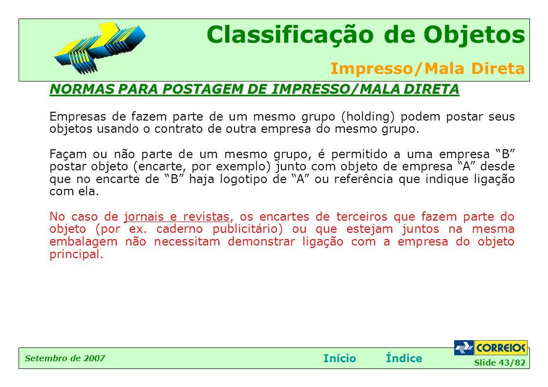 NORMAS PARA POSTAGEM DE IMPRESSO/MALA DIRETA