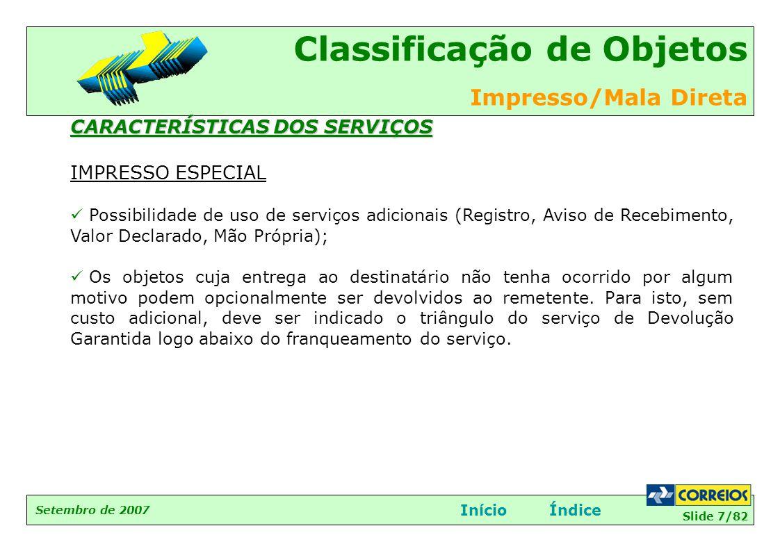 CARACTERÍSTICAS DOS SERVIÇOS IMPRESSO ESPECIAL