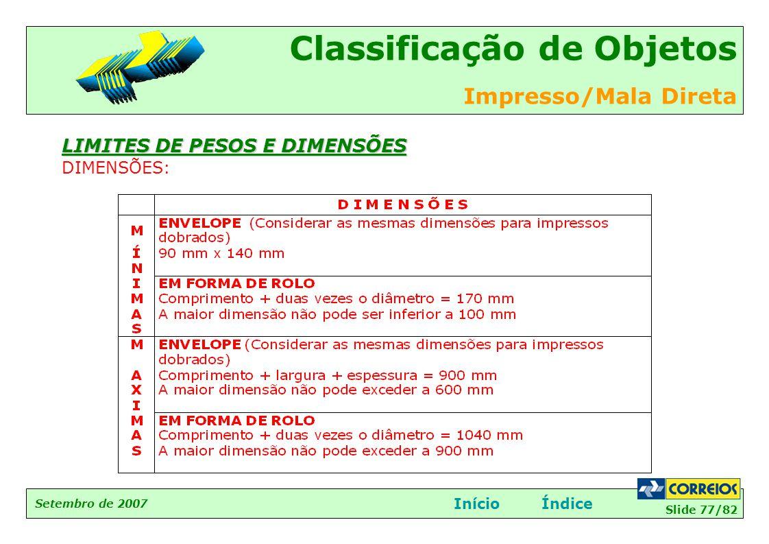 LIMITES DE PESOS E DIMENSÕES