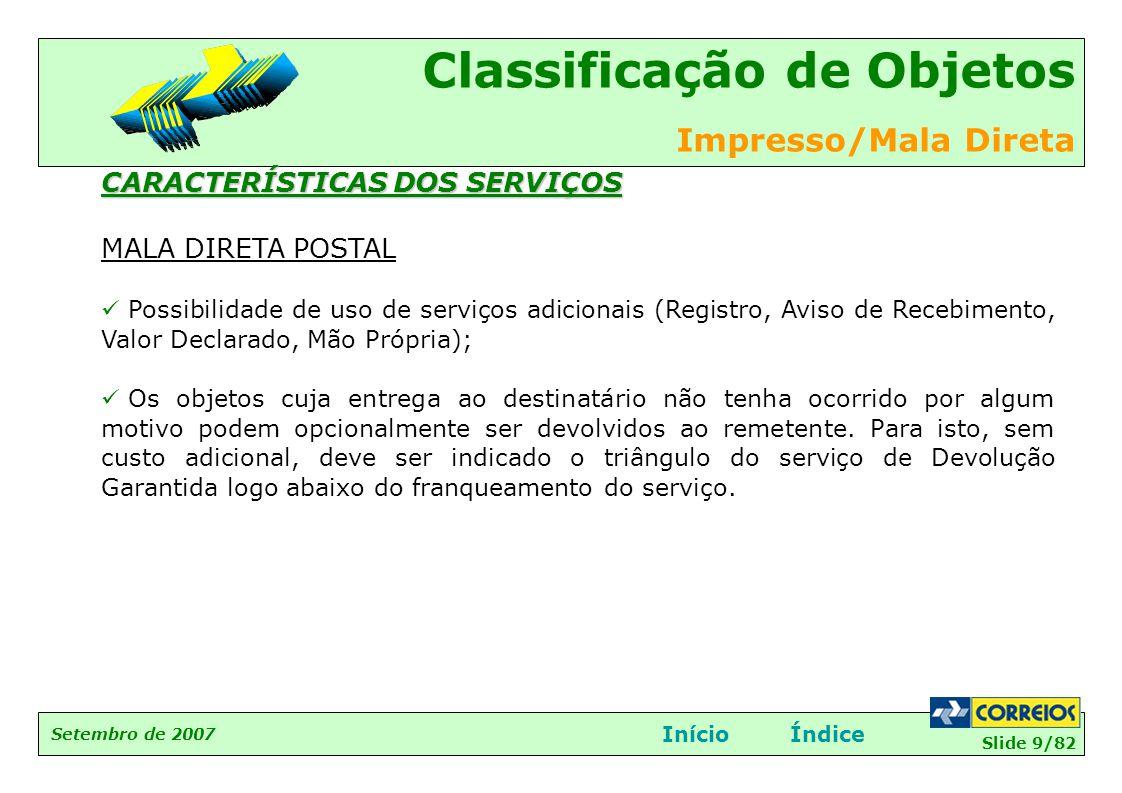 CARACTERÍSTICAS DOS SERVIÇOS MALA DIRETA POSTAL