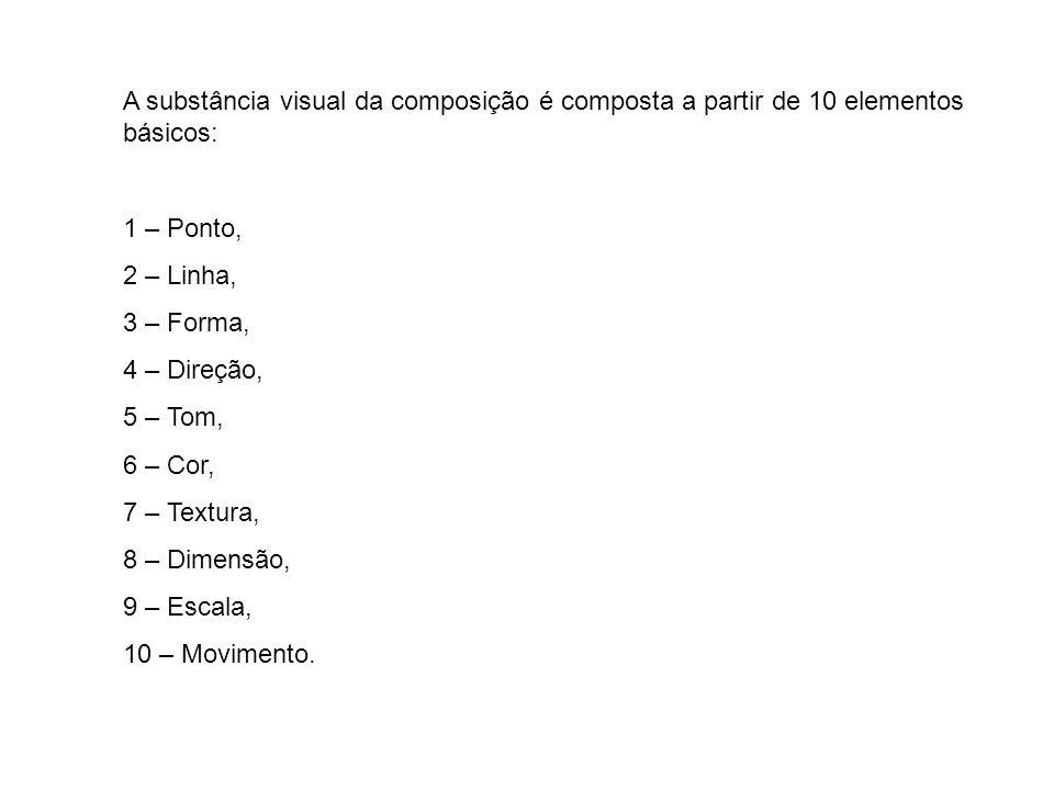 A substância visual da composição é composta a partir de 10 elementos básicos: