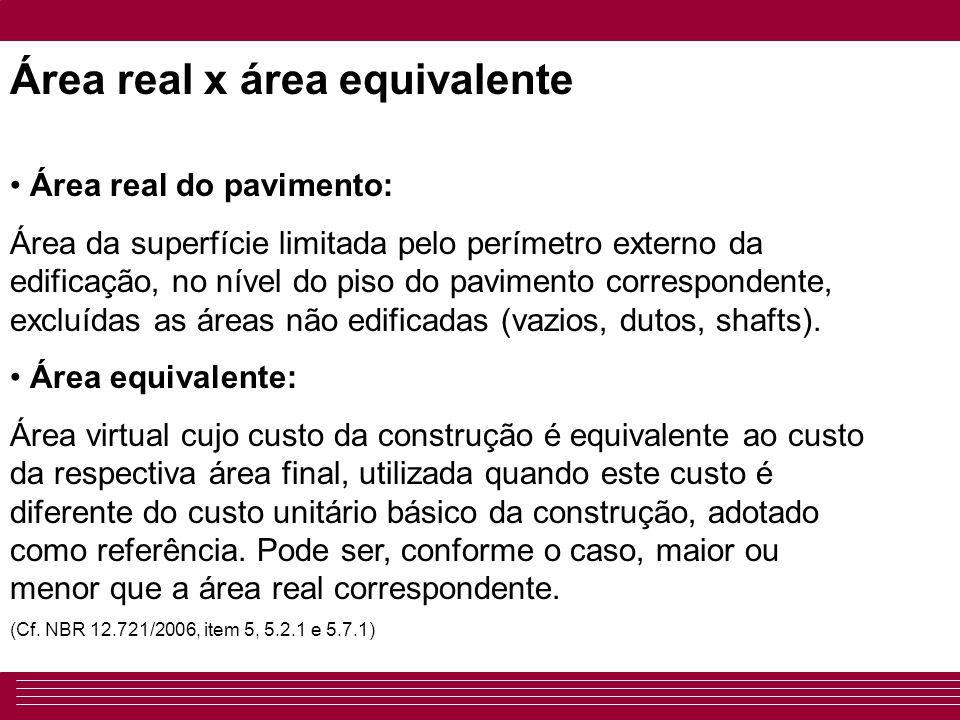 Área real x área equivalente