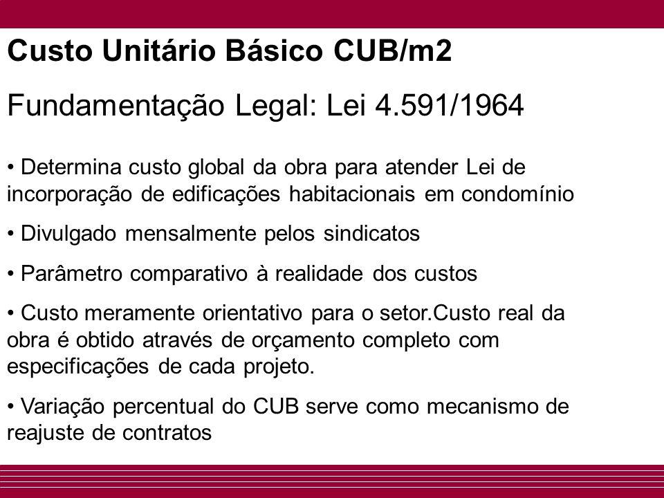Custo Unitário Básico CUB/m2 Fundamentação Legal: Lei 4.591/1964