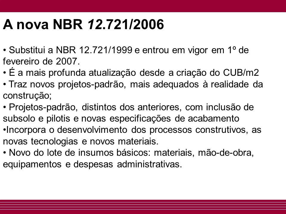 A nova NBR 12.721/2006 Substitui a NBR 12.721/1999 e entrou em vigor em 1º de fevereiro de 2007.
