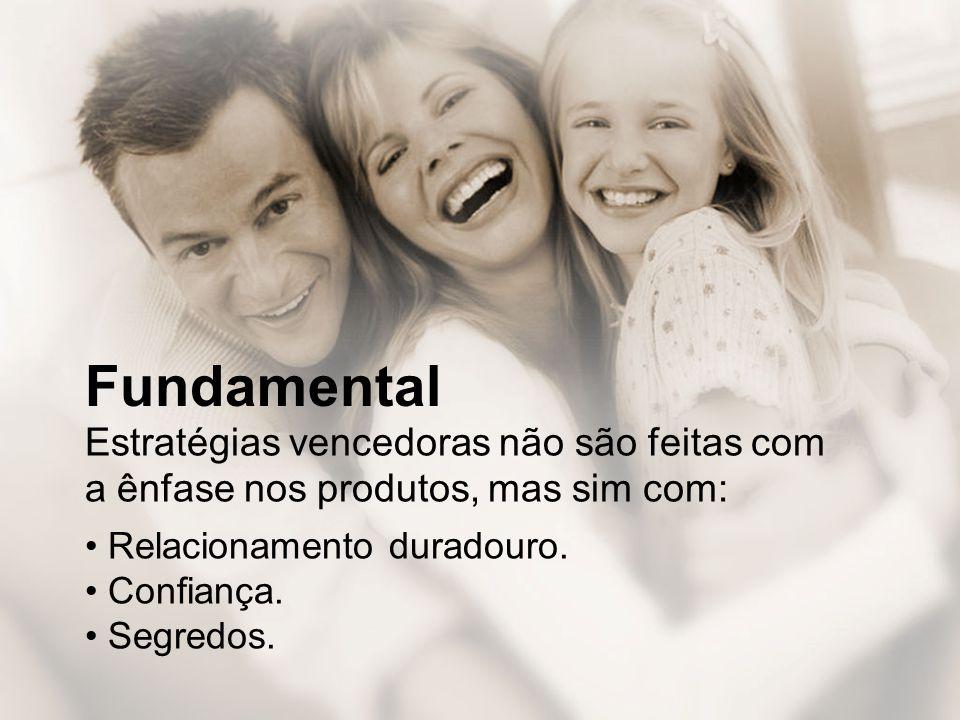 Fundamental Estratégias vencedoras não são feitas com a ênfase nos produtos, mas sim com: • Relacionamento duradouro.