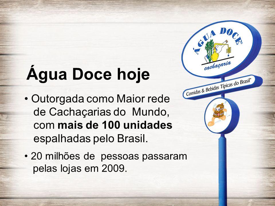 Água Doce hoje • Outorgada como Maior rede de Cachaçarias do Mundo, com mais de 100 unidades espalhadas pelo Brasil.