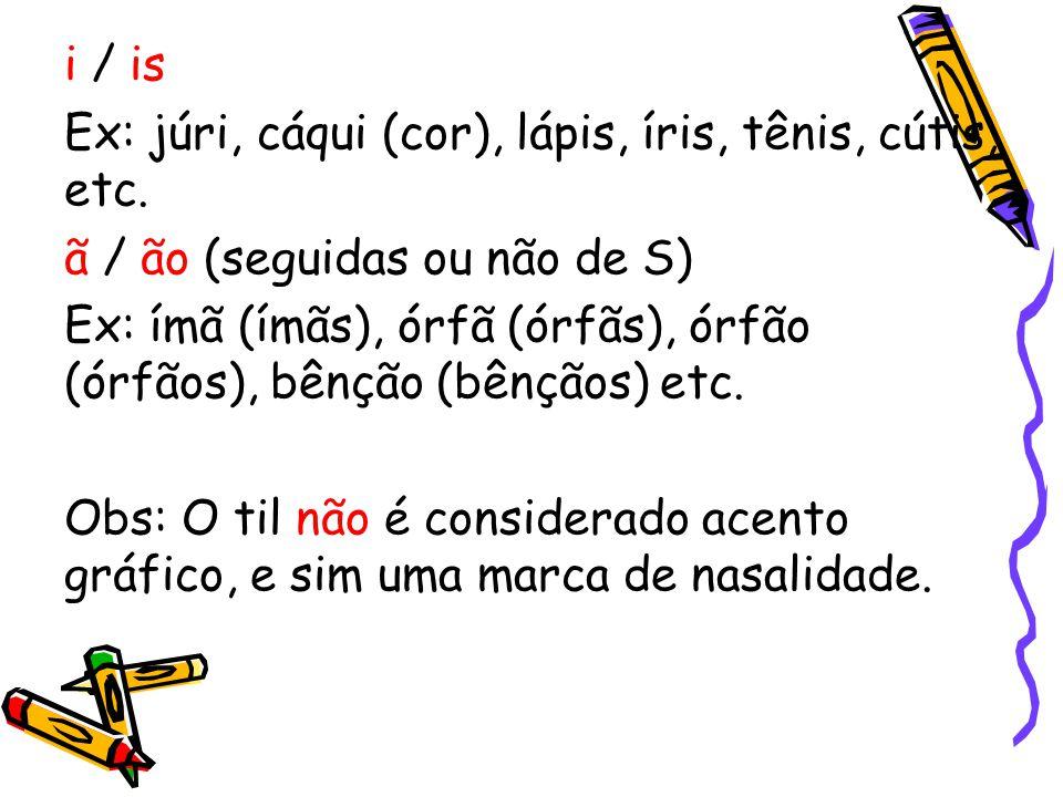 i / is Ex: júri, cáqui (cor), lápis, íris, tênis, cútis, etc. ã / ão (seguidas ou não de S)