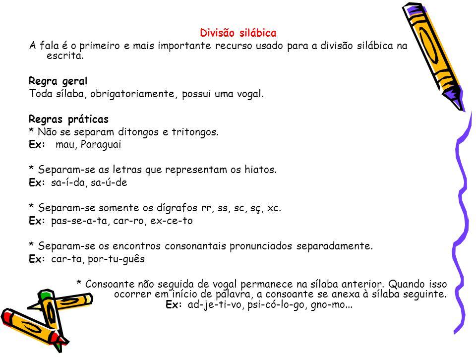 Divisão silábica A fala é o primeiro e mais importante recurso usado para a divisão silábica na escrita.