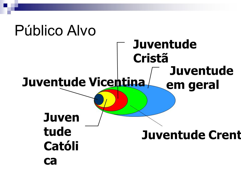 Público Alvo Juventude Cristã Juventude em geral Juventude Vicentina