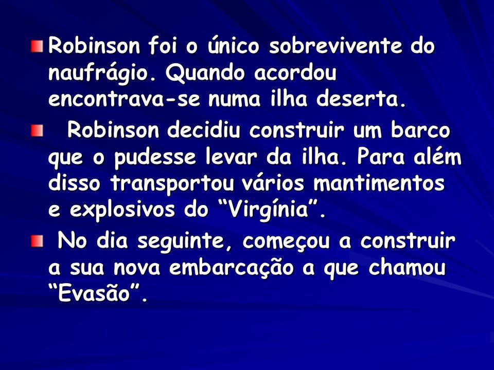 Robinson foi o único sobrevivente do naufrágio