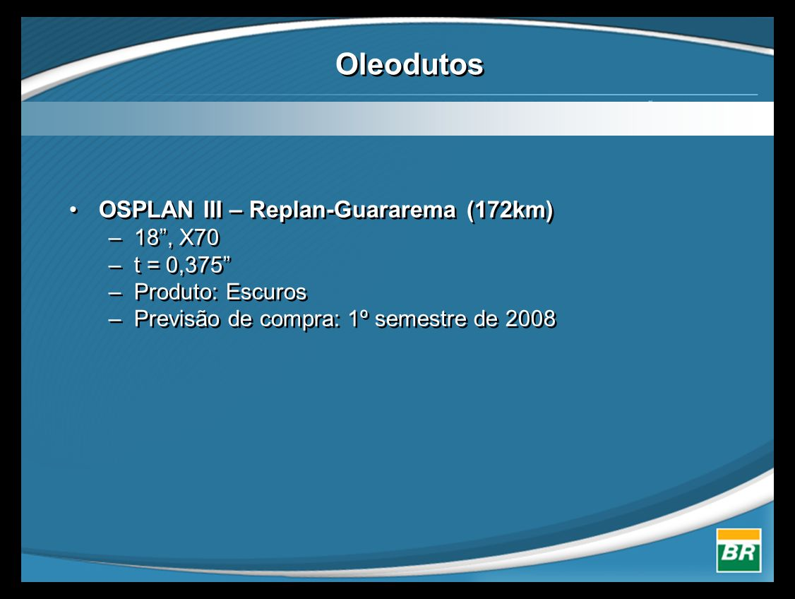 Oleodutos OSPLAN III – Replan-Guararema (172km) 18 , X70 t = 0,375