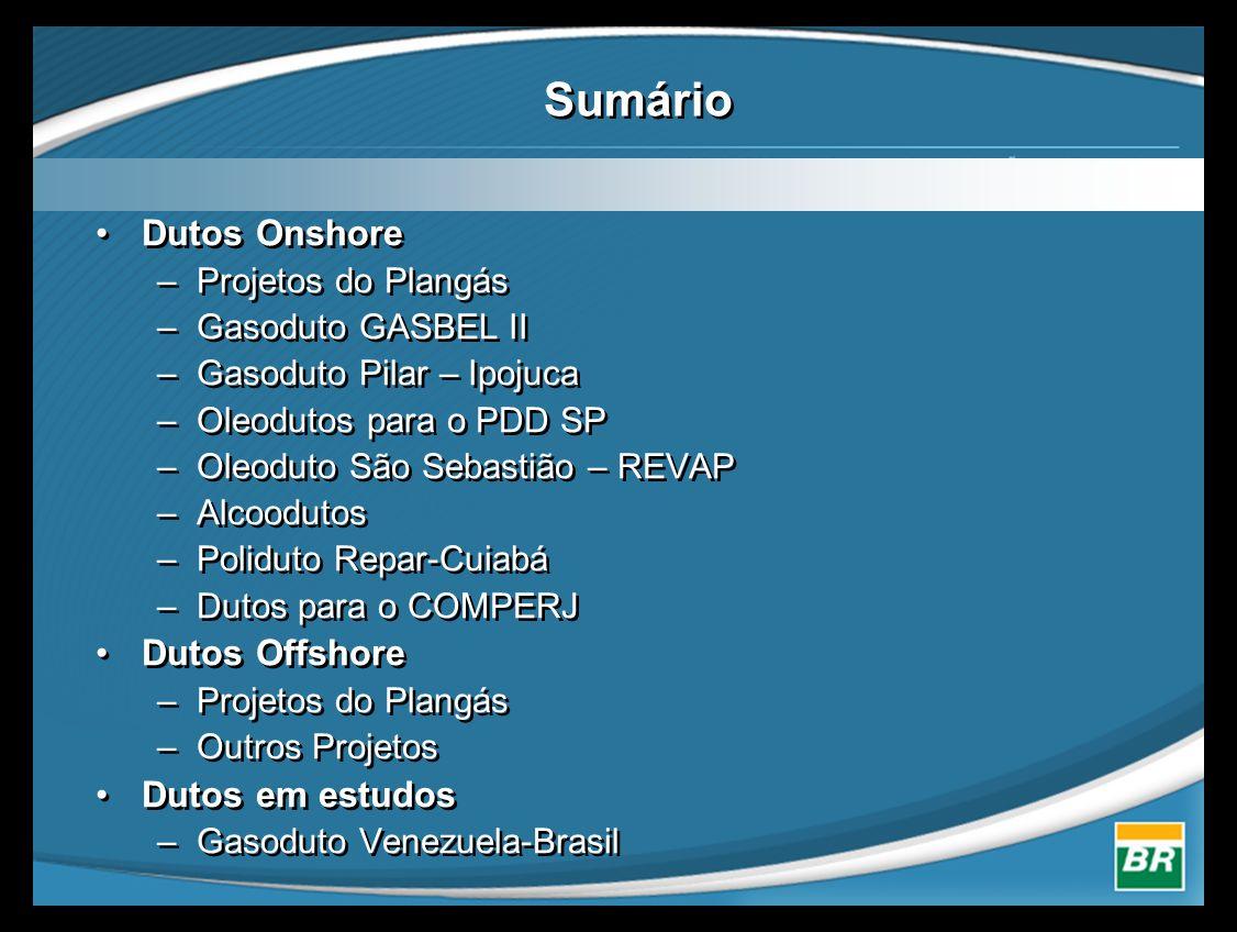 Sumário Dutos Onshore Dutos Offshore Dutos em estudos