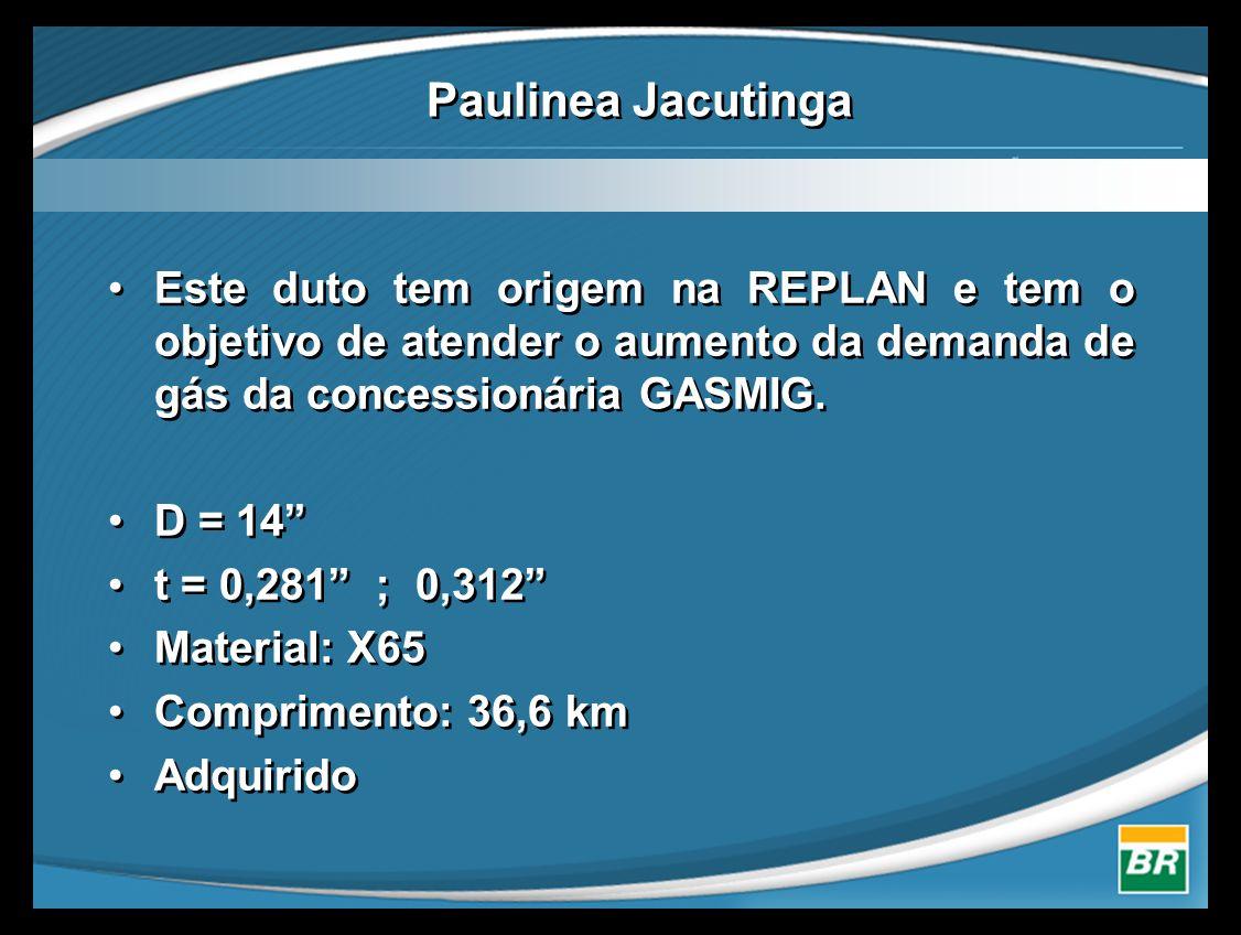 Paulinea Jacutinga Este duto tem origem na REPLAN e tem o objetivo de atender o aumento da demanda de gás da concessionária GASMIG.