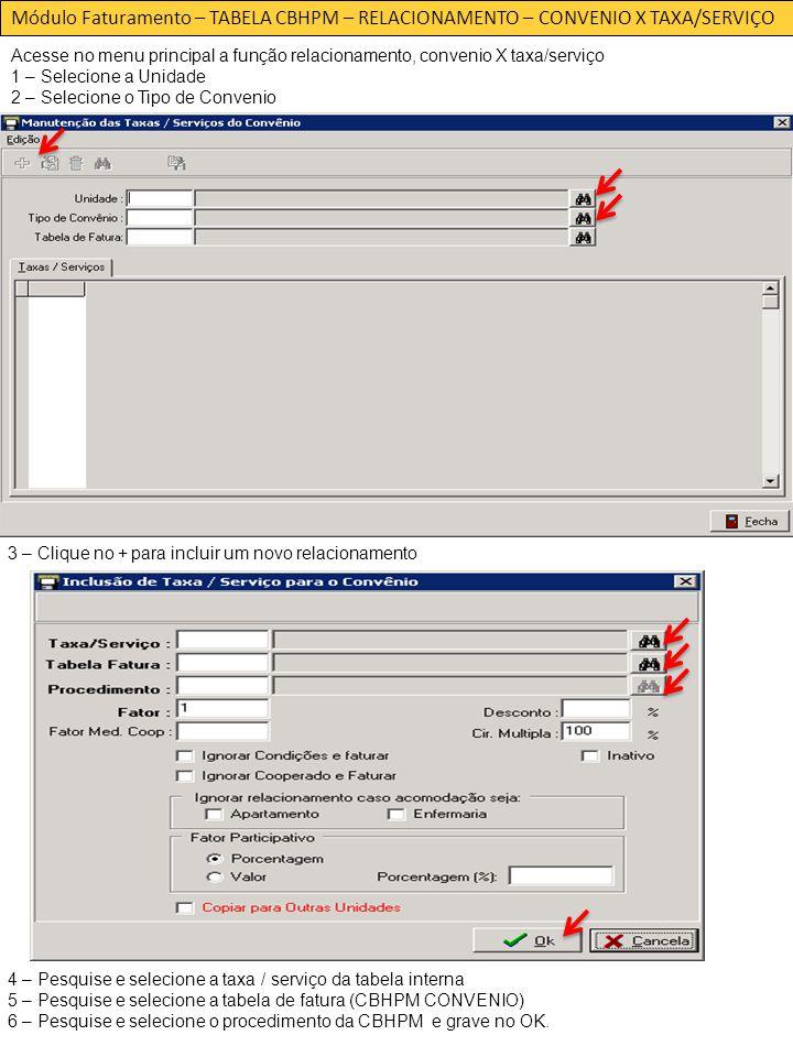 Módulo Faturamento – TABELA CBHPM – RELACIONAMENTO – CONVENIO X TAXA/SERVIÇO