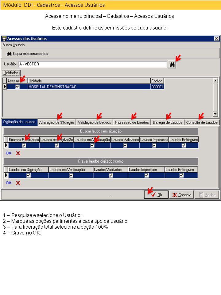 Módulo DDI –Cadastros – Acessos Usuários