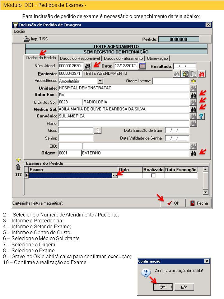 Módulo DDI – Pedidos de Exames -