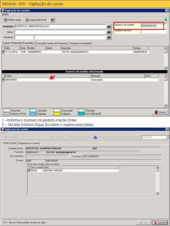 Módulo DDI – Digitação de Laudo