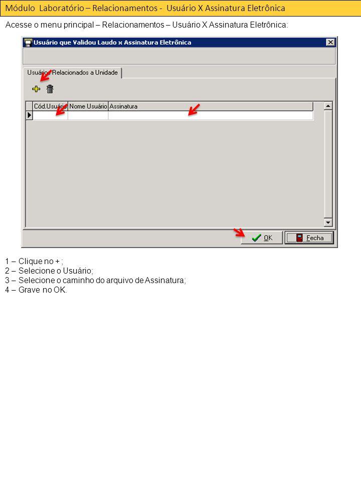 Módulo Laboratório – Relacionamentos - Usuário X Assinatura Eletrônica