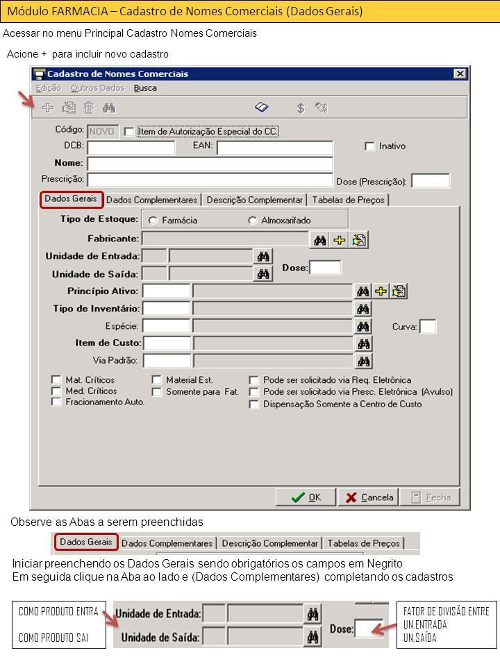 Módulo FARMACIA – Cadastro de Nomes Comerciais (Dados Gerais)