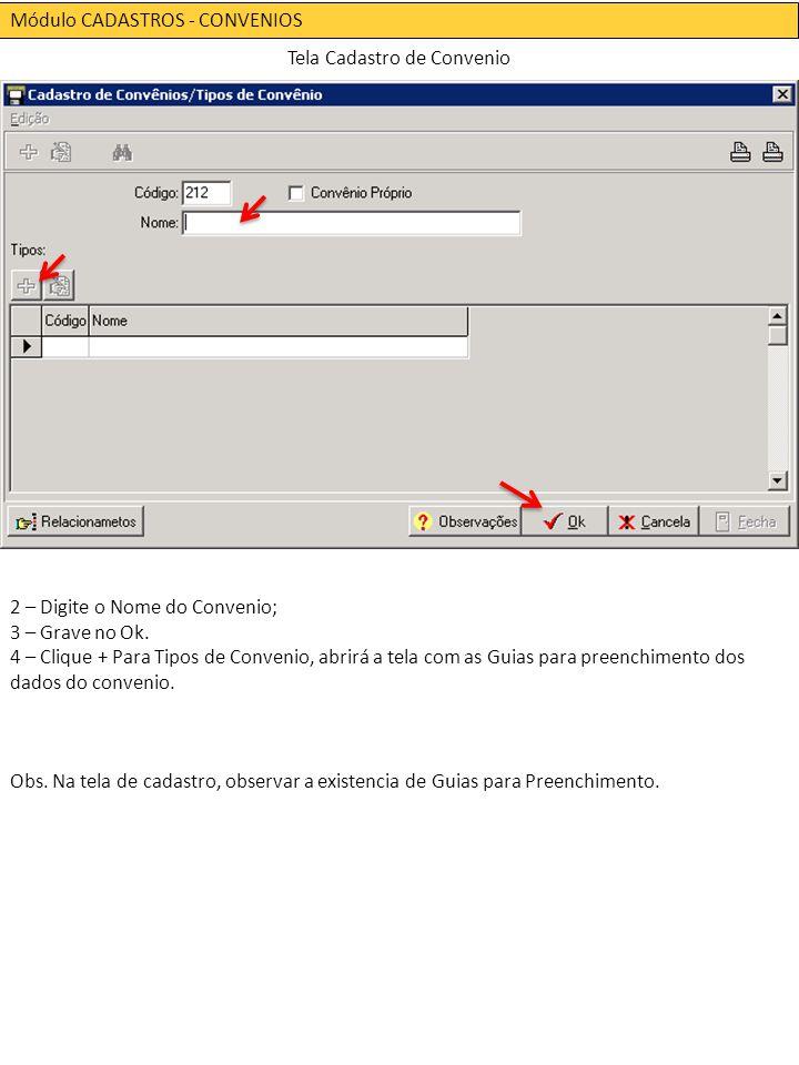 Módulo CADASTROS - CONVENIOS