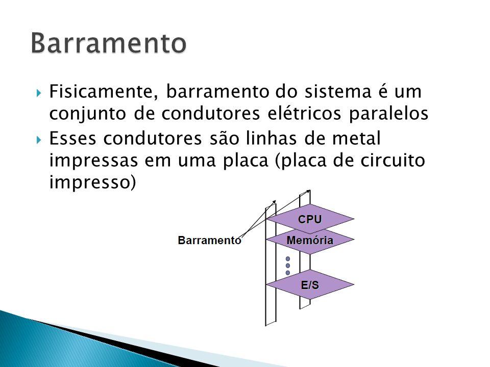 Barramento Fisicamente, barramento do sistema é um conjunto de condutores elétricos paralelos.