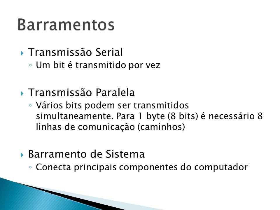 Barramentos Transmissão Serial Transmissão Paralela