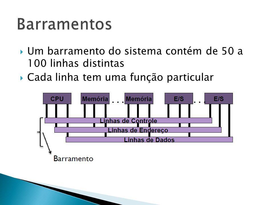 Barramentos Um barramento do sistema contém de 50 a 100 linhas distintas.