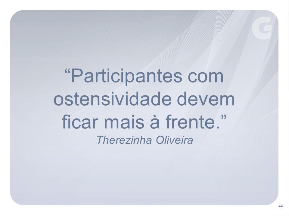 Participantes com ostensividade devem