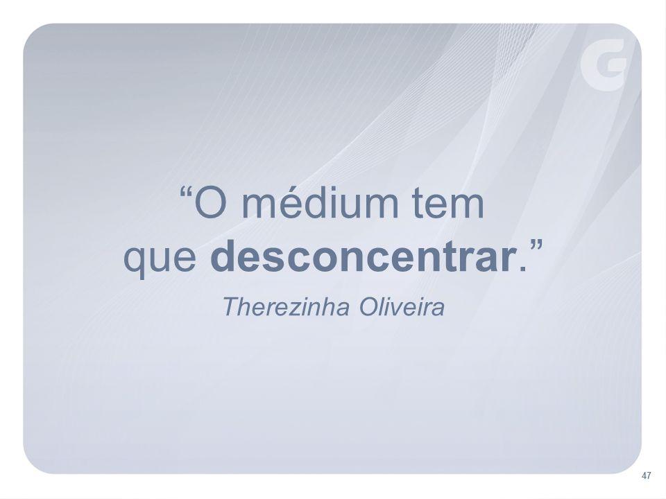 O médium tem que desconcentrar. Therezinha Oliveira