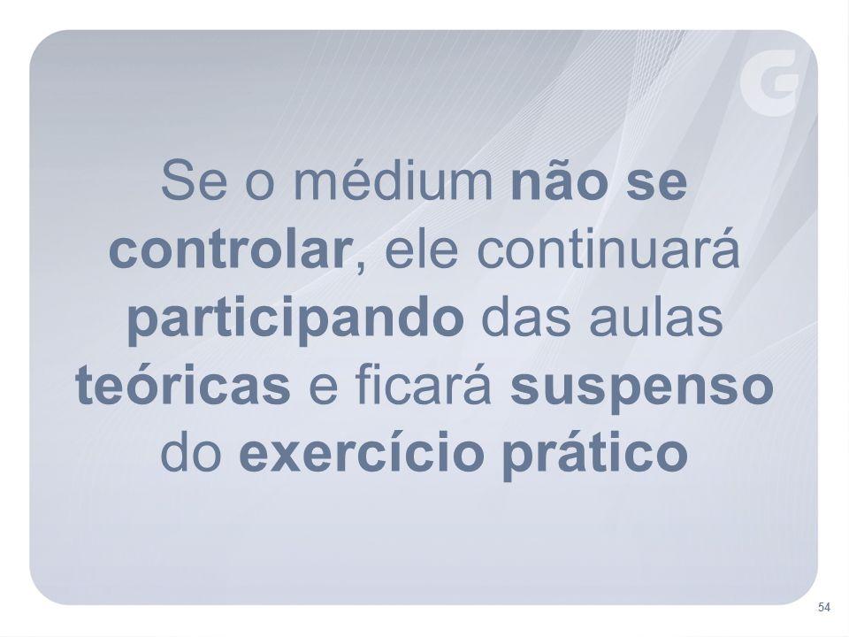 Se o médium não se controlar, ele continuará participando das aulas teóricas e ficará suspenso do exercício prático